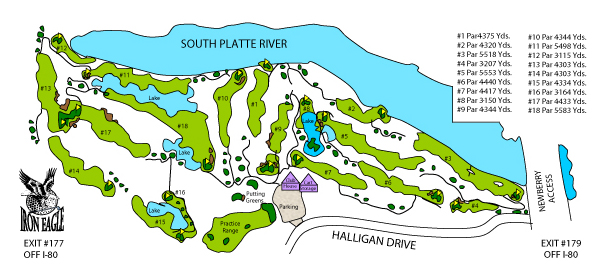 The course map of Iron Eagle Golf Course in North Platte, Nebraska