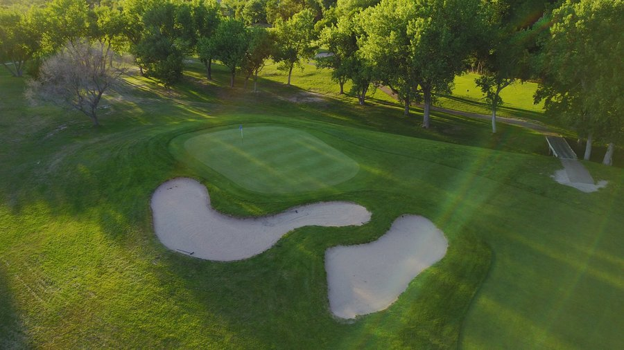 Aerial view of one of the holes on the course at Iron Eagle